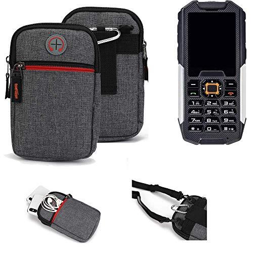 K-S-Trade® Gürtel-Tasche Für Cyrus cm 7 Handy-Tasche Holster Schutz-hülle Grau Zusatzfächer 1x