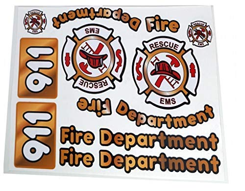 The Toy Restore Outdoor Replacement Decals Fire Firetruck to fit DIY Little Tikes Step2 Ride-on Car Truck Toys