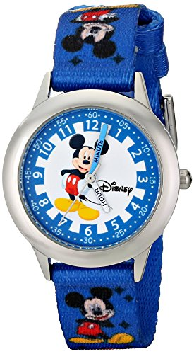 Disney Kids' W000022 'Time Teacher' Stainless Steel Watch with Blue Nylon Band