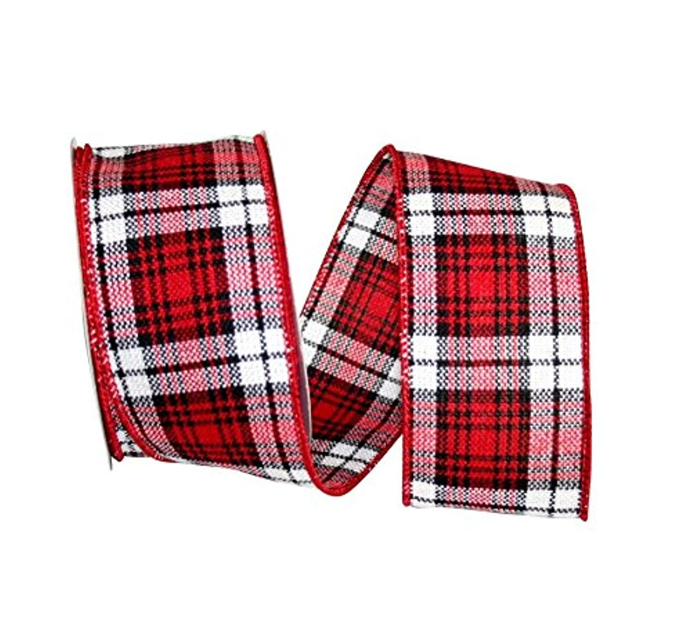 Reliant Ribbon 92988W-937-40F Cabin Natural Woolen Plaid Wired Edge Ribbon, 2-1/2 Inch X 10 Yards, Red/Black