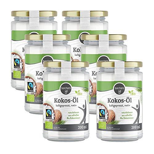 6 x borchers Bio-Fairtrade Kokosöl Nativ, Naturbelassen, Erste Kaltpressung, zum Kochen, Braten & Backen, Vegetarisch und Vegan 200ml