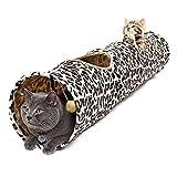 PAWZ Road Katzentunnel im Leoparden Design 2 Wege, Faltbar mit Spielball für Katzen Kätzchen 30 * 128cm