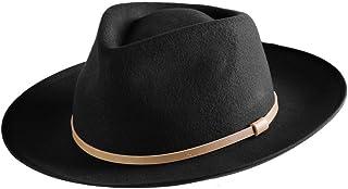Men Fedora Hat Wide Brim Wool Felt Panama Cowboy Hats Gatsby Dress Trilby Crushable (Black)