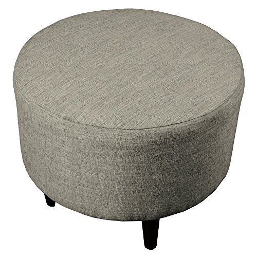 MJL Furniture Designs Sophia Collection Lucky Series Contemporary Round Ottoman, Platinum/Gray/Wooden Legs