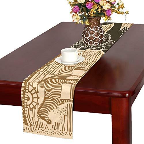 QIAOLII Silhouette schöne afrikanische Frau gegen Tischläufer, Küche Esstisch Läufer 16 X 72 Zoll für Dinnerpartys, Veranstaltungen, Dekor