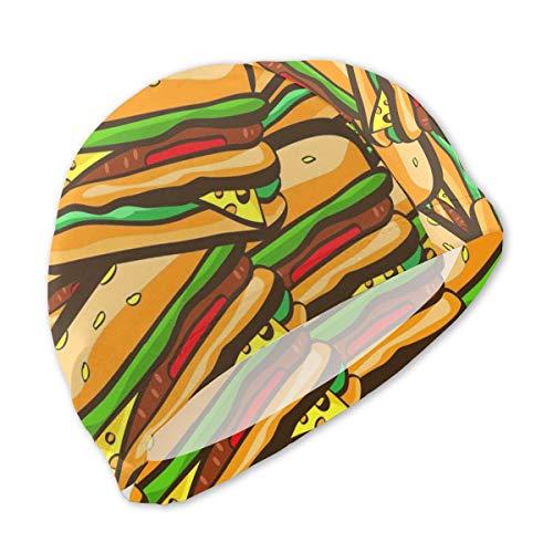 Lanswim Swim Cap for Girls Boys Kids Teens, Waterproof Hair Swimming Caps Special Printed Kids Comfortable Fit Swim Cap for Cartoon Hamburger Print