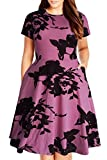 Nemidor Women's Round Neck Summer Casual Plus Size Fit and Flare Midi Dress with Pocket(Purple Print, 20W)