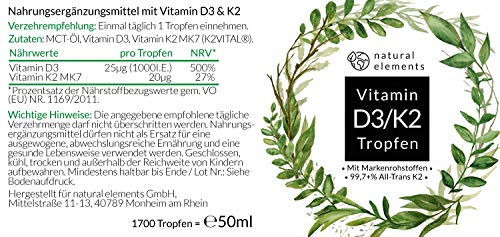 Vitamin D3 + K2 Tropfen 50ml - Premium: 99,7+% All-Trans (K2VITAL® von Kappa) + hoch bioverfügbares D3 - Laborgeprüft, hochdosiert, flüssig - 2
