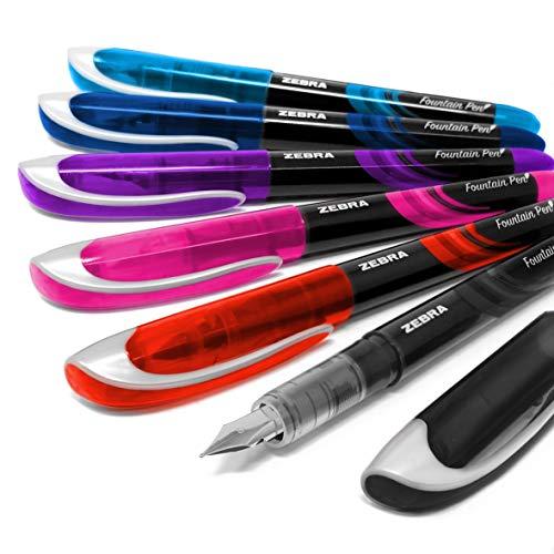 Zebra Fuente - Pluma estilográfica desechable (6 unidades, cada una de un color distinto)