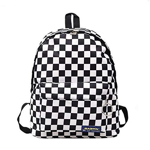 VICTOE Modischer, einfacher Unisex-Rucksack aus Nylon mit großer Kapazität, kariert, Laptop-Rucksack, Tasche für Damen, Studenten, Freizeit-Rucksack, Handtasche