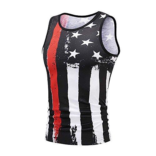 VECDY Herren Tanktop Tank Tops Sommer USA Flagge 3D Druck Slim Fit Ärmelloses Singlet T-Shirt Tops Weste Tank Ärmellos Weste Muskelshirt Fitness Madmext