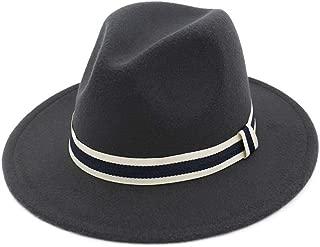 XinLin Du Unisex Men Women Fedora Hat With Striped Satin Panama Jazz Hat Pop Hat Wide Brim Hat