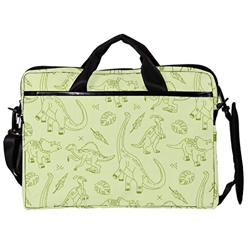 Mochila unisex para ordenador o tableta, ligera para portátil, bolsa de viaje de lona, 13.4-14.5 pulgadas, con hebillas, hojas verdes dibujadas a mano