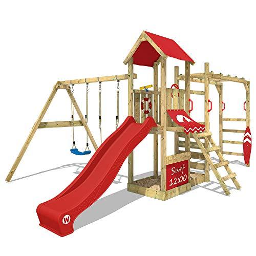 WICKEY Klimtoren voor tuin Smart Dock met schommel en rode glijbaan , Houten speeltuig, Speeltoestel, klimrek met zandbak en klimwand voor kinderen