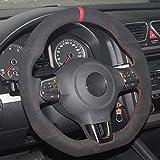 WQSNUB Cubierta del Volante del Coche de Costura Manual Cuero de Gamuza, para Volkswagen Golf 6 GTI MK6 VW Polo GTI Scirocco R Passat CC R-Line 2010