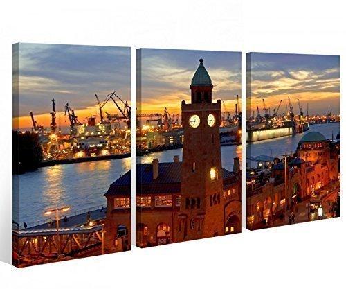 Leinwand 3 tlg. Hamburg Hafen Stadt Skyline Nacht Bilder Bild Kunstdruck 9A551 Holz-fertig gerahmt -direkt Hersteller, 3 tlg BxH:120x80cm (3Stk 40x 80cm)