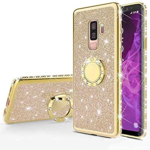 Homikon Silikon Hülle Kompatibel mit Samsung Galaxy A6 Plus 2018 Überzug TPU Bling Glitzer Strass Diamant Schutzhülle mit 360 Grad Ring Ständer Flex Durchsichtig Silikon Handyhülle Tasche Case - Gold