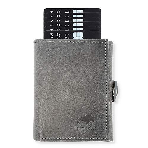 NEU: SOLO PELLE® Slim Wallet mit Münzfach [12 Karten] Slimwallet Riva [RFID-Schutz] Kartenetui mit Münzfach [Leder] Smart Wallet für Männer und Damen (Steingrau)