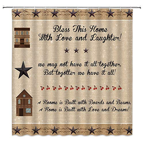 Primitive Country Shower Curtain Inspirational Quotes Western Stars on Rustic Wooden Funny Retro Farmhouse Fabric Bathroom Decor Curtain with 12 Hooks,71X71 Inchs