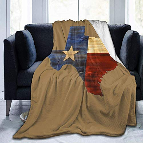 W-wishes Texas Flag Map Throw Flannel Fleece Blanket,Soft Warm Fluffy Plush Blanket For Bed Couch Chair Living Room,50'x60'