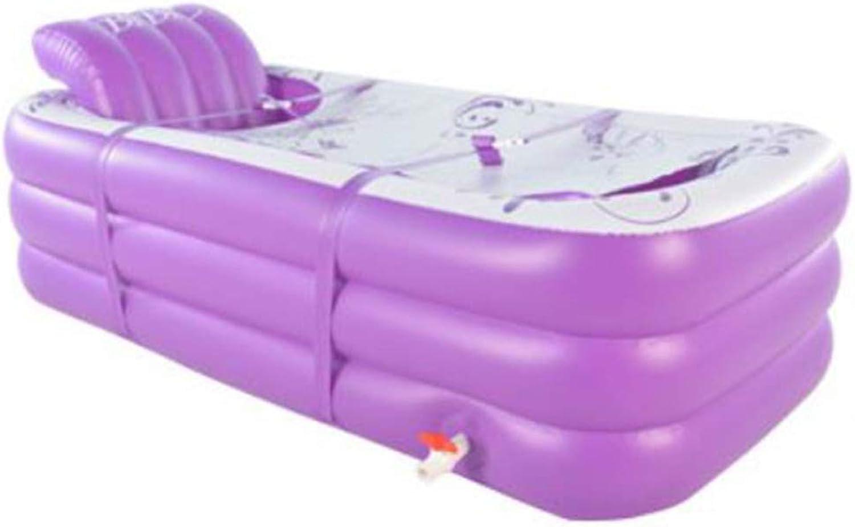 Mai Dou PVC Inflatable Bathtub Foldable Bathtub Thickening Adult Bathtub Plastic Bath Barrel color  Purple,Purple-165x80x55cm