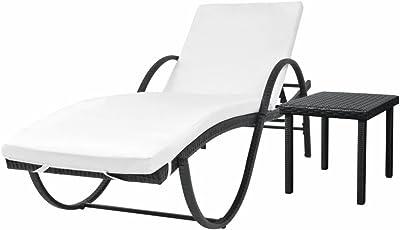 FZYHFA Chaise Longue con Mesa Resina Tejido en Negro para casa, jardín, balcón: Amazon.es: Jardín