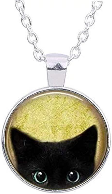 NIHAI Cute Black Cat Pendant Necklace Jewelry Peeking Black Cat Pendant Valentine S Day Thanksgiving Day Girlfriend Gift