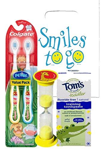 Wild Animal Safari 4pc Bright Smile Toddler Trainning Set! 2pk Soft Manual Toothbrush, Fluoride Free Toothpaste & Brushing Timer! Plus Dental Gift Bag & Tooth Saver Necklace!