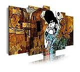 DekoArte 275 - Cuadros Modernos Impresión de Imagen Artística Digitalizada   Lienzo Decorativo para Tu Salón o Dormitorio   Estilo Abstractos Arte Gustav Klimt El Beso   5 Piezas 200 x 100 cm XXL