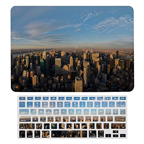 Funda protectora para MacBook Air de 13 pulgadas con teclado y carcasa protectora de Manhattan New York USA carcasa rígida con cubierta para teclado para A1466 y A1369