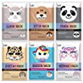 Epielle Character Masks (Assorted-6pk) 1-Llama, 1-Mermaid, 1-Panda, 1-Cheetah, 1-Unicorn, 1-Otter