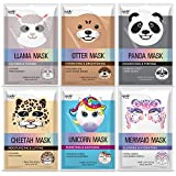 Epielle Character Sheet Masks | Animal Spa Mask | Llama, Mermaid, Panda, Cheetah, Unicorn, Otter | Korean Beauty Skincare Mask -For All Skin Types, (Pack of 6) | Birthday Party Gift for her kids, Spa Day Party, Girls Night, Spa Night, Beauty Gift