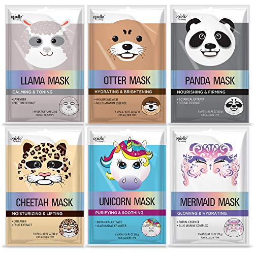 Epielle Character Masks (Assorted-6pk) 1-Llama, 1-Mermaid, 1-Panda, 1-Cheetah, 1-Unicorn, 1-Otter (Epielle Character Masks-6pk) (Assorted Character Mask-6pk)