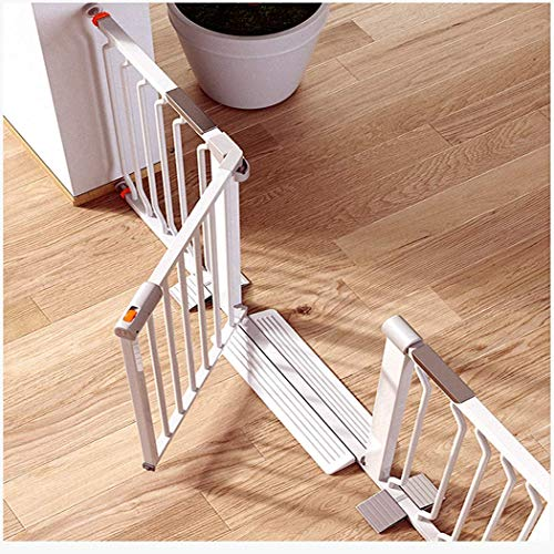 Baby Gate Stairway Guardrail Baby Safety Door Guardrail Child Fence Baby Gate with Dog Door Folding Door Bar Dual Lock Self Fermeture (Couleur: Blanc, Taille: 104-111cm)