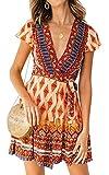 ZESICA Women's Summer Wrap V Neck Bohemian Floral Print Ruffle Swing A Line Beach Mini Dress Orange