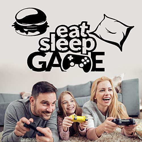 Eat Sleep Game Wall Decal Stickers for Boys Kids Room, Peel and Stick Game Wallpaper for Bedroom Big Boy, Removable Vinyl Wall Posters DIY Wall Art Decor Playroom Decoration(C)
