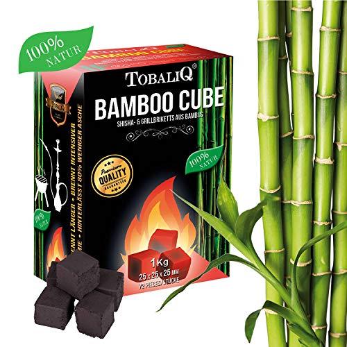 Tobaliq® Shisha Kohle Bamboo Cube I 1 kg I Hochwertige Shisha Naturkohle Briketts aus Bambus I Für Wasserpfeife & Grill geeignet I Extra Lange Brenndauer