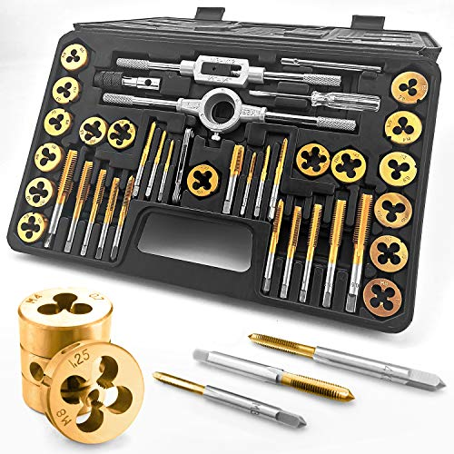 Azuno 40PCS Metric Tap and Die Set, Titannium Coated GCr15 Bearing Steel with T-Handle/Wrench/Gauge/Screwdriver in Storage Delux Case, Essential Threading
