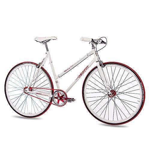 CHRISSON 28 Zoll Damen City Bike - FGS CrMo Lady Weiss - Old School Damenfahrrad mit 2 Gang Kick Shift Schaltung von Sturmey Archer, Retro Cityfahrrad für Frauen mit Rücktrittschaltung