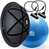 U.S. Active Half Ball Balance Trainer with Yoga Ball Complete Pack - New Generation Balance Ball Designed for Core Training - Anti Slip Workout Equipment Half Ball with Resistance Bands