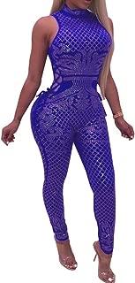 Womens Sexy Rhinestone See Through Jumpsuit Bodycon Halter Neck Backless Romper Club wear
