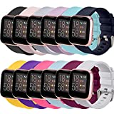 Correa Compatible para Fitbit Versa 2/Fitbit Versa Lite/Fitbit Versa Silicona Correas,Negro/Rosa/Gris/Púrpura/Verde Menta/Azul Marino/Blanco/Amarillo/Polvo Barbie/Gema Verde/Fucsia/Púrpura Oscuro