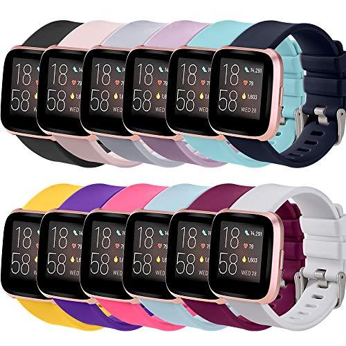 Correa Compatible para Fitbit Versa 2/Fitbit Versa Lite/Fitbit Versa Silicona Correas,Negro/Rosa/Gris/Púrpura/Verde Menta/Azul...