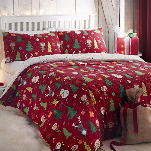 Bedlam Elf & Santa-Easy Care Duvet Cover Set, Polycotton, Multicolour, Double