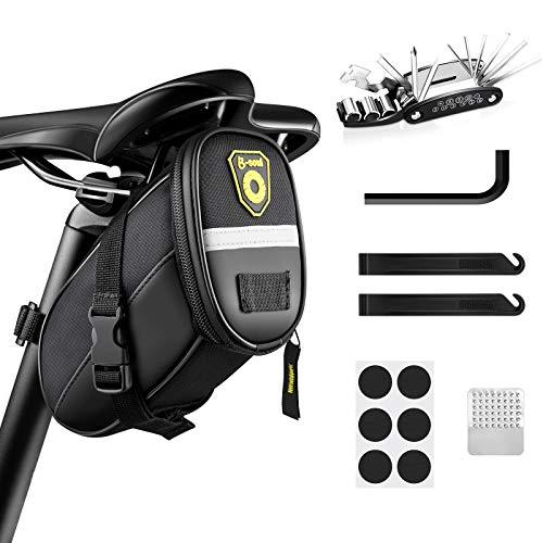 Fahrradsatteltasche und 16-in-1-Fahrradreparaturset, Fahrrad-Multitool, Fahrradtasche mit Notfallwerkzeug, Fahrradreparaturwerkzeug,Reifenstange mit Satteltasche, für Mountainbikes und Rennräder
