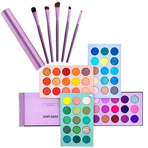 Makeup Set 60 Color Eyeshadow Palette & 5pcs Makeup Brushes Kit, 4 in 1 Board High Pigmented Glitter Matte Eye Shadow Rotation Pearlescent Nude Eyes Cosmetic Makeup Palette with Makeup Brush Set