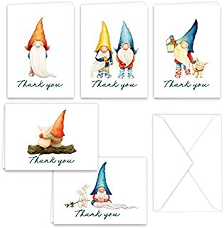 Paper Frenzy Gnomes Thank You Note Card Collection 25 pack with White Envelopes