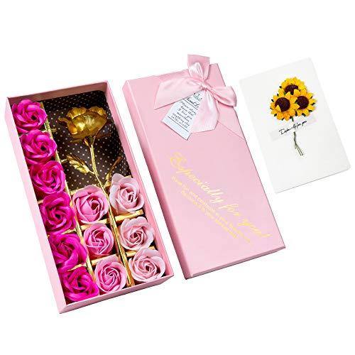 Rosa 24K, GuKKK Rosa Eterna, Rosa de Oro Chapada en Oro, con 12 Pcs Jabón Rose Flower y Tarjeta de Felicitación, Regalos Dia de la Madre, Cumpleaños, San Valentin, Regalos Originales para Mujer
