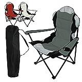 Linxor France  Chaise de camping pliable + Sac de transport - 3 Coloris - Norme CE - Gris
