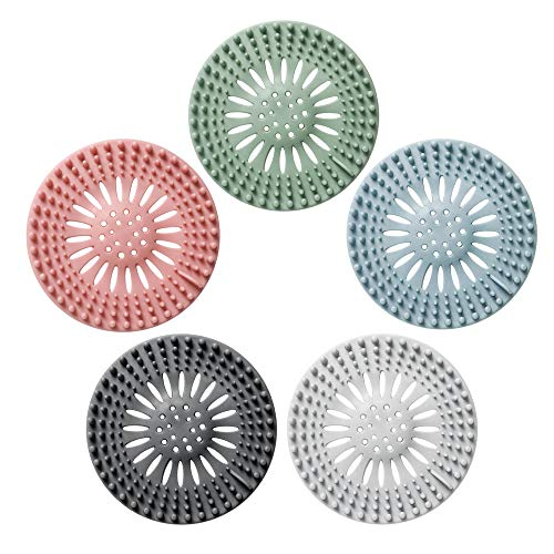 TSYAN Drain Hair Catcher Durable Silicone Hair Stopper Shower Drain Covers Universal Protector Rubber Strainer Clean Suit for Bathtub Kitchen and Bathroom(5 Pack)